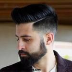 corte cabello hombre pelo largo barba linea lado